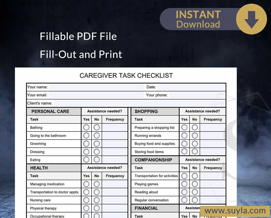 Caregiver Task Checklist