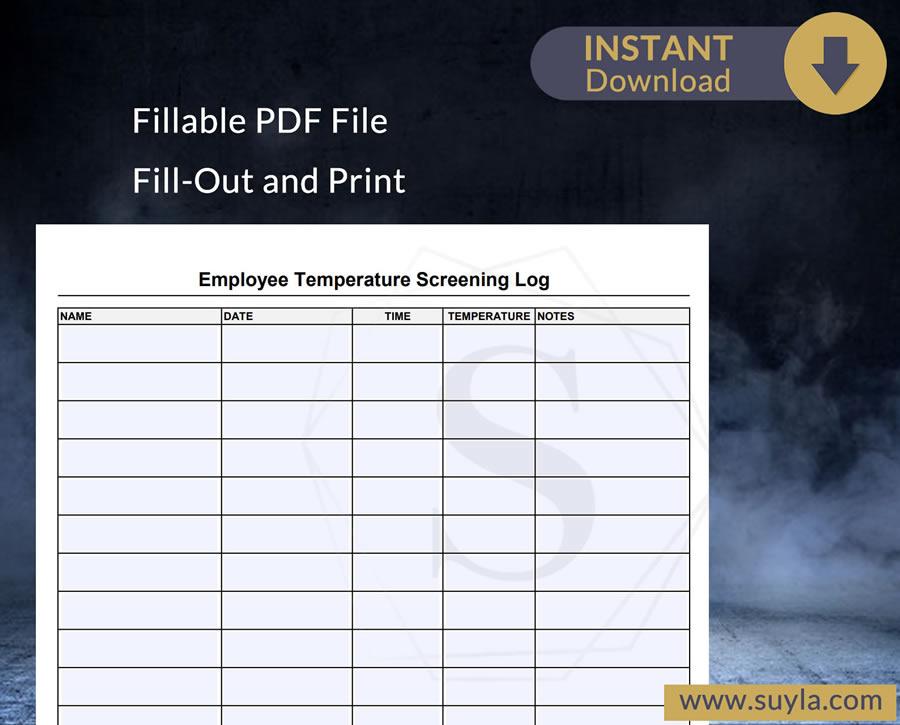 Employee Temperature Screening Log